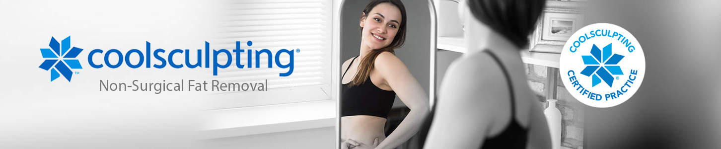 Middle Aged Woman Examining CoolSculpting Results
